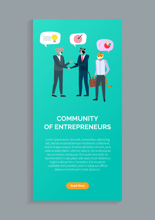 Community of entrepreneurs, hipster animals in businessman suits gather donations and discussing projects. Vector cartoon managers with head of tiger, koala and badger. Website or web page template Иллюстрация
