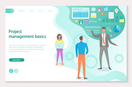 Project management basics vector, boss teaching new workers. Social trends and icons, infographics with data information, video and gear process. Website or webpage template, landing page flat style Illustration