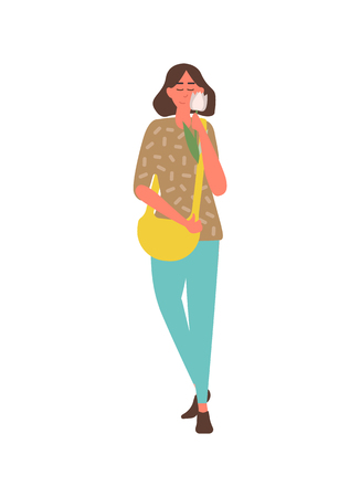 Pretty girl in trousers and sweater with white tulip isolated character. Vector woman with present on 8 March or birthday party, female with yellow sack Ilustrace