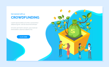 Bag of dollars, money tree, leaves and coins. Get started with crowdfunding, man and woman holding currency, business investment technology vector. Website or webpage template, landing page flat style Stock Illustratie