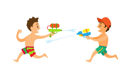 Friends playing water game, characters running and shooting squirt gun, side view of teenagers in shorts, songkran festive or summer activity vector
