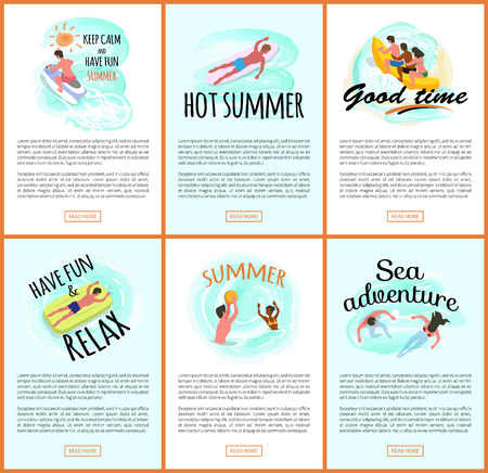 Summer fun vector, people relaxing by seaside, man and woman swimming in water. Jet ski hobby of person, banana boat ride, surfing male, laying on mattress