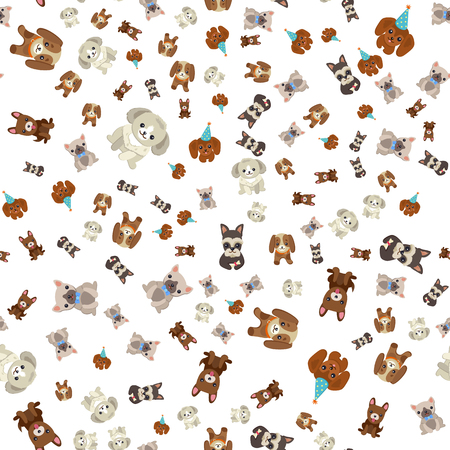 Doggy with cute muzzle vector, seamless pattern of dogs wearing celebration hat for holiday special occasion, isolated on white background, canine