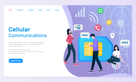 Cellular communication vector, man and woman using phones to chat and speak, people with smartphones sim card and call sign icons of wifi. Website or webpage template, landing page flat style