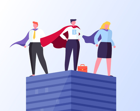 Heroes in business vector, man and woman wearing formal suit and cloaks flat style. Businessman and businesswoman standing on tall pedestal isolated Illustration