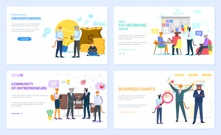 Crowdfunding vector, office workers in cozy coworking center hipster animals working. Community of entrepreneurs and business giants set. Website or webpage template, landing page flat style