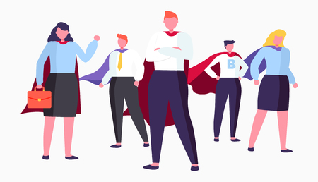 Business heroes vector, isolated people wearing formal clothing and standing in cool pose, man and woman with cloaks and briefcase with documents Иллюстрация