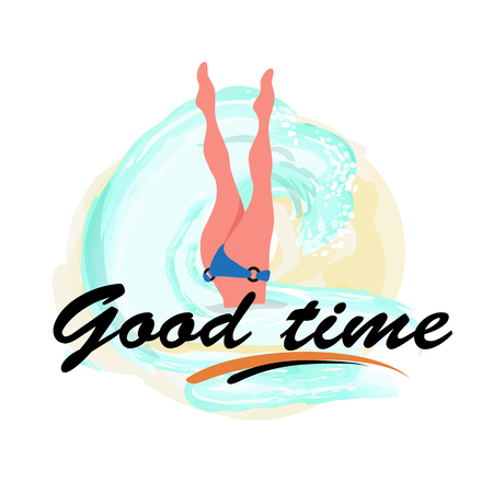 Good time, woman diving legs up, diver in bikini suit in blue sea waters isolated label. Vector girl snorkeling, beautiful feets above head, person relaxing