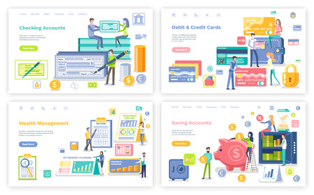 Debit and credit card vector, banking system for users. Pig with money and gold coins of dollar, smart planning with calendars and dates set. Website or webpage template, landing page flat style