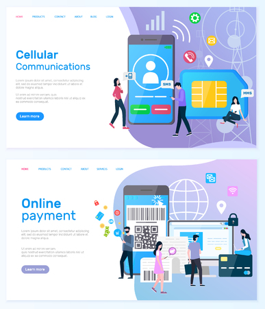 Online payment vector, people using smarphones to buy things, and modern shopping, cellular communication and innovative networks users set. Website or webpage template, landing page flat style  イラスト・ベクター素材