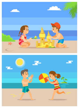 Children playing volleyball vector, boy and girl building sand castle and talking. Kids on summer vacation spending time by seaside, ball game summertime