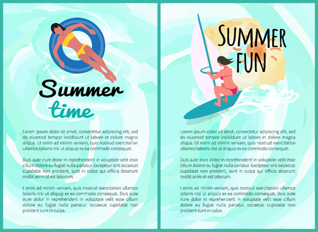 Summer fun people on vacation vector, set of posters with text. Windsurfing woman and lady laying on lifebuoy, relaxation summertime holidays seaside