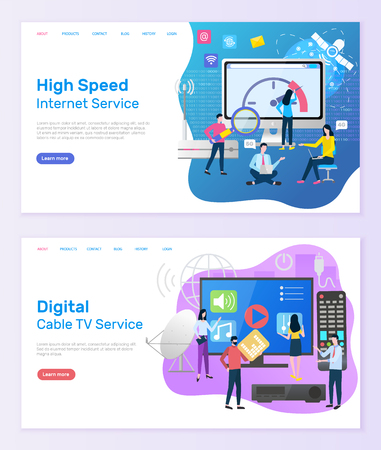 Digital cable TV service vector, people with screen of television and remote controller, high speed of internet clients using online innovations. Website or webpage template, landing page flat style