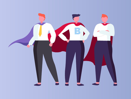 Males working in business field vector, isolated people wearing suits with tie have letter on shirt, cloaks and gowns of person. Businessman team