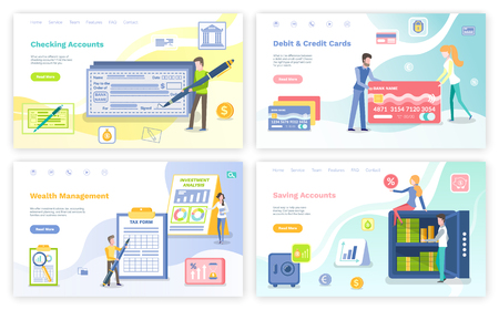 Debit  and credit cards vector, people with banking systems, planning and investment, woman sitting on stringbox with cash in banknotes coins. Website or webpage template, landing page flat style