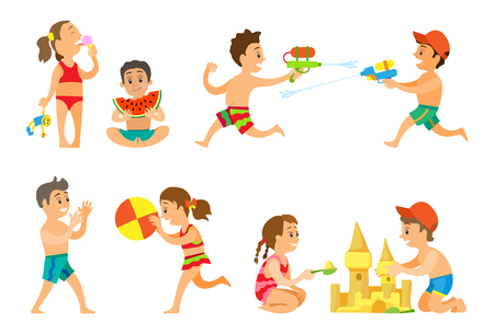 Kids playing in summer vacations vector, girl eating ice cream dessert, children playing volleyball and building castle from sand. Water battle guns Illustration