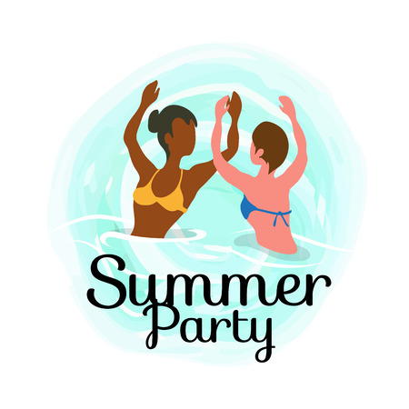 Summertime party, girls dancing in ocean, spending time at summer resort isolated vector banner. Woman on vacation swim and sunbathing, relaxing on water Фото со стока - 122622713