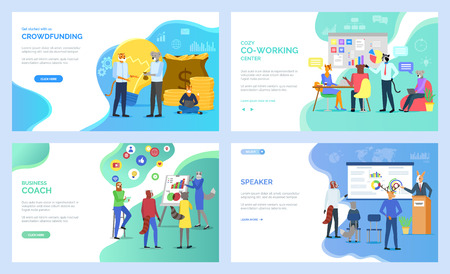 Speaker vector, deer on presentation, crowdfunding and cozy coworking center, hipster animals at work, working cat and koala, raccoon set. Website or webpage template, landing page flat style