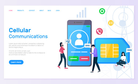 Cellular communication vector, people with smartphone screen showing profile of user and calling icon, sim card messaging and texting call cell. Website or webpage template, landing page flat style