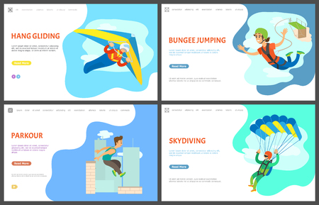 Skydiving and paragliding vector, bungee jumping woman in flight, urban lifestyle parkour, parachutist at sky, skydiver and  hang gliding. Website or webpage template, landing page flat style
