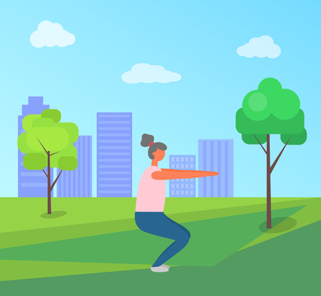 Fitness woman vector, lady in green park of city, squats exercises. Person wearing clothes, town with skyscrapers. Working out and stretching female Illustration
