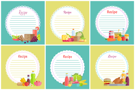 Recipe set of place to write dishes preparation steps vector. Bottle of water, fruits and vegetable, grapes ad lemon, sausage and cheese dairy lettuce Illustration