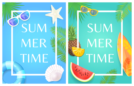 Summer time party theme banner, vector placard. Sun glasses and surfboard, inflatable ring fruit slice, shell and star on palm leaves card in frame
