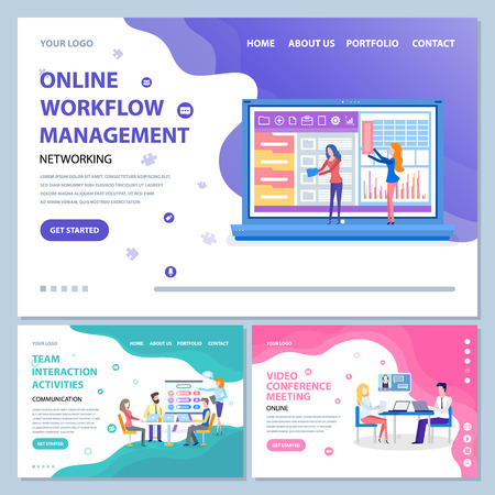 Online workflow management vector, people with screen and laptops on conference meeting of employees in office. Man and woman with board. Website or webpage template, landing page flat style Ilustração