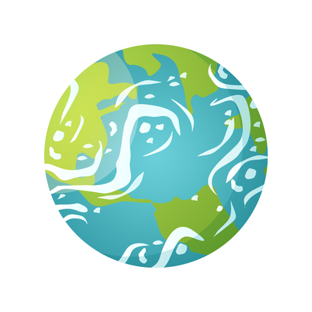 Earth globe vector, isolated icon of floating planet in space, celestial body with water and land, continents, sea and oceans, clouds and environment. Concept for Earth day