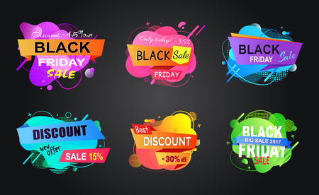 Special promotion vector, isolated banners set in flat style, stickers with reduced price and abstract design, black friday sale, offers of market