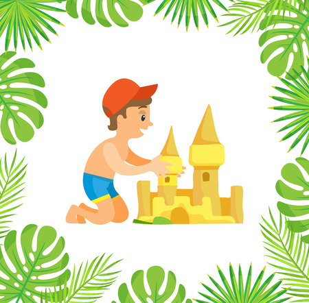 Boy sitting and making sand castle, little happy person wearing cap and shorts making by hands fortress, palm tree leaves, activity on beach vector