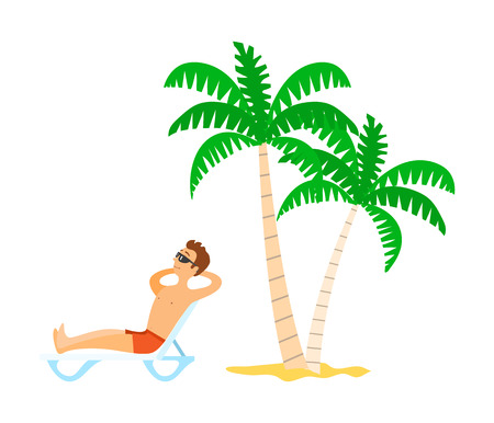 Man in shorts lying on chaise lounge, person wearing sunglasses sunbathing near palm trees. Element of relaxing male on beach, resting tourist vector