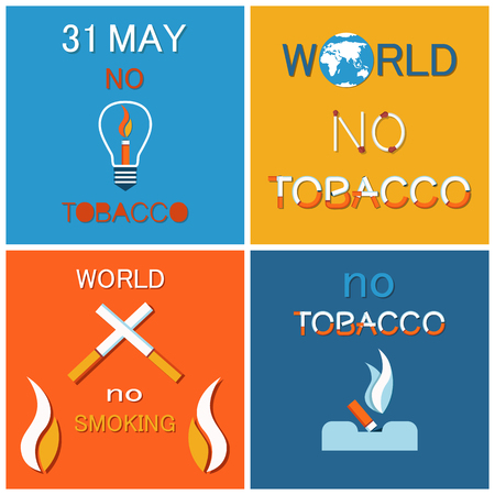 WNTD World no tobacco day 31 May, cigarette in lamp, crossed smoking objects, cigar in ashtray. Abstinence from nicotine consumption around globe vector