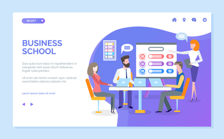 Business school vector, presentation given by woman coach, students listening and giving ideas. Brainstorming and new ideas generation. a Website or webpage template, landing page flat style Illustration