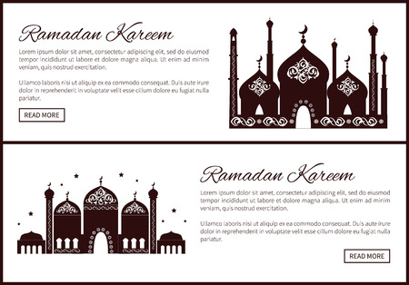 Ramadan Kareem set of web sites with Mosque and text sample, place of worship for Muslims with arabic ornaments on elaborate domes, minarets vector 일러스트