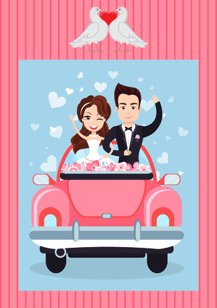 Newlyweds standing in retro auto with flowers, portrait view of man and woman waving hands, groom holding bride, doves with heart, valentine card vector