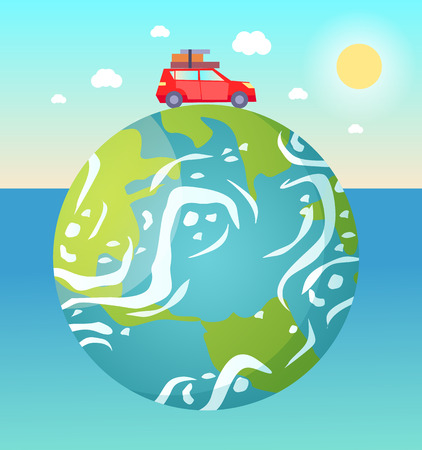 Earth planet floating in water vector, red car with baggage and luggage on roof riding, sunshine and fine weather, sky with clouds and sunshine flat style Çizim