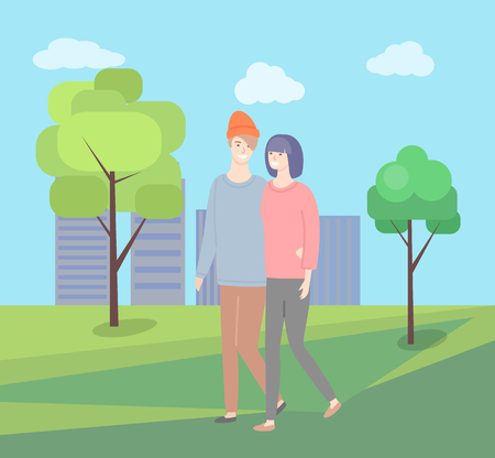 Man and woman walking together vector couple in green city park on background of skyscrapers. Girlfriend and boyfriend in casual cloth, people together