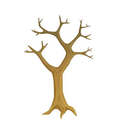 Trockener und toter Baum, Holz mit leeren Ästen, flacher brauner Stamm, Umweltproblem oder Jahreszeit fallender Blätter, einzelner blattloser Pflanzenvektor