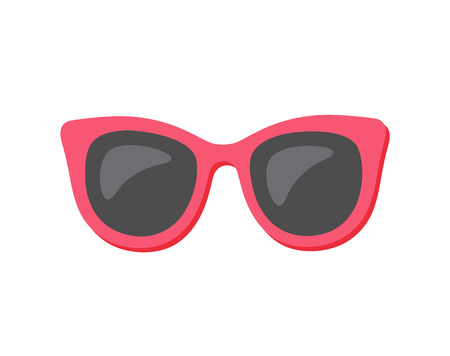 Summertime holiday elements vector, sunglasses isolated icon in flat style. Eyewear protecting eyes from sun rays. Cool red and black stylish accessories Foto de archivo - 122622838
