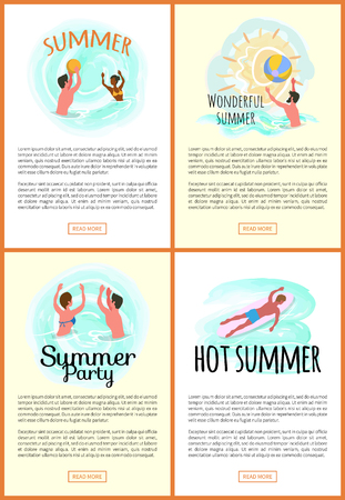 Summer fun vector, people on vacation summertime seasonal holidays. Male throwing inflatable ball, waterpolo and surfing man, swimming couple set Çizim