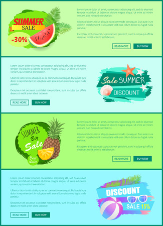 Summer sale watermelon and star, set of posters with text. Pineapple fruit slices and seashell on water. Discounts and seasonal proposition vector Illusztráció