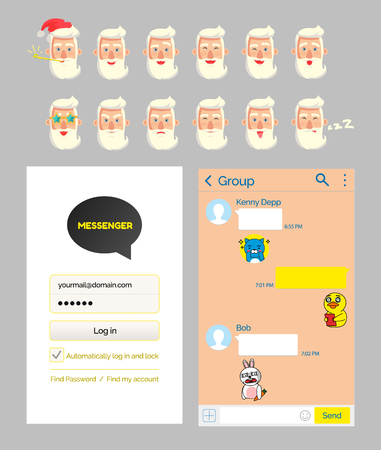 Santa stickers and kakao talk messenger design mockup vector. Male bearded face emoji and chat or dialog, log in start page, mobile app development