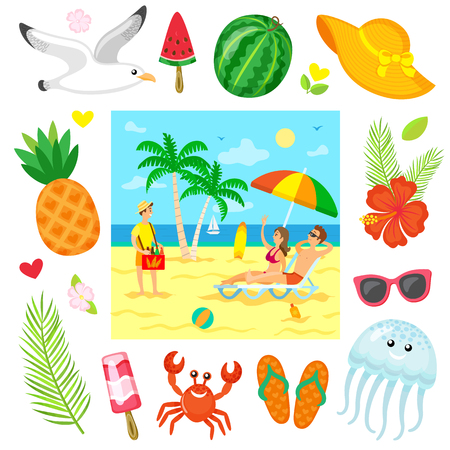 Couple lying on chaise lounge under parasol, woman rising hand for buying bottle of drink, business on beach. Summer decorations icons isolated around vector