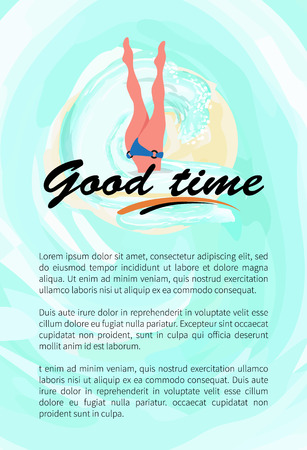 Good time, woman diving legs up, diver in bikini suit poster leaflet with text sample. Vector girl snorkeling, beautiful feets above head, person relaxing at resort