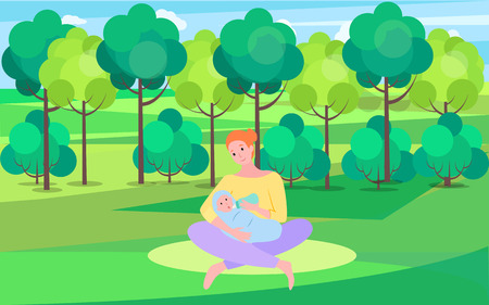 Motherhood and childhood vector, woman in park with kid, mom feeding baby with milk poured in bottle. Newborn child on fresh air, nature green park Illustration