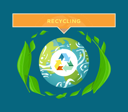 Recycling round label, arrows in triangle and round planet, earth and leaves in flat style. Modern idea of sorting trash, environmental care vector 일러스트