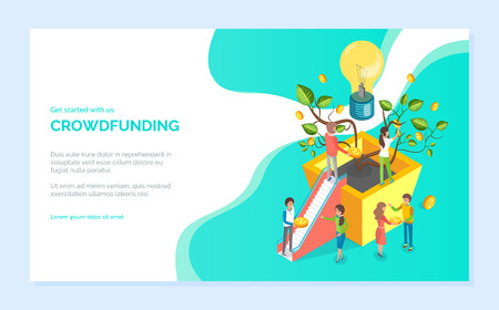 Get started with crowdfunding, man and woman holding coins, money tree with stairs 3d design, idea and strategy, plant business technology vector. Website or webpage template, landing page flat style