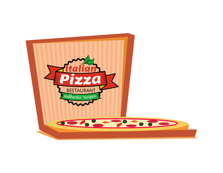 Italian pizza restaurant authentic recipes vector, isolated logo of cafe. Delivery and order of food in carton box, slices with salami and cheese logotype Ilustracja