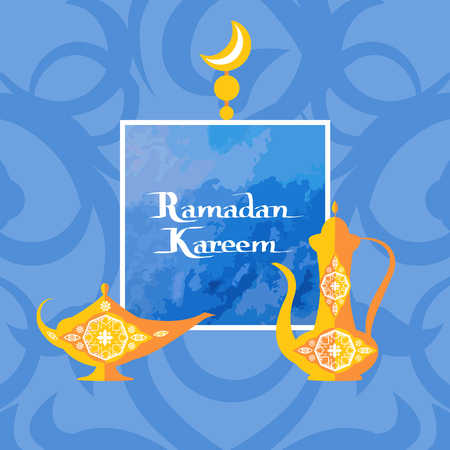Ramadan Kareem poster with islamic dishware decorative pitcher in vintage style, arabic genie lamp or coffee pot, frame for text topped by moon vector  イラスト・ベクター素材